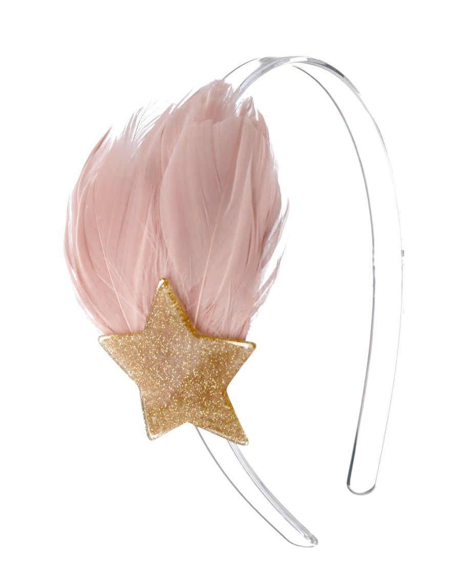 Lilies & Roses NY Pink & Gold Feather and Star Headband