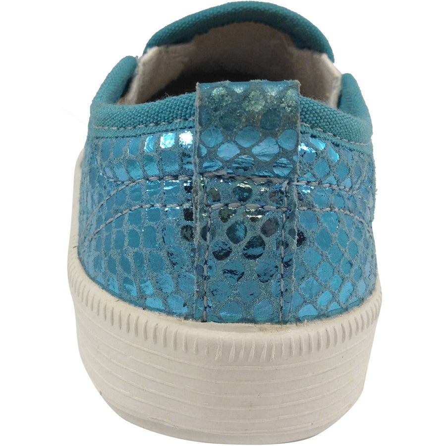 Old Soles Girl's 1011 Blue Snake Leather Hoff Sneaker - Just Shoes for Kids  - 3