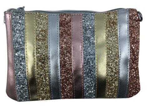 Bari Lynn Girl's Metallic Stripe Wristlet Clutch and Chain Handbag