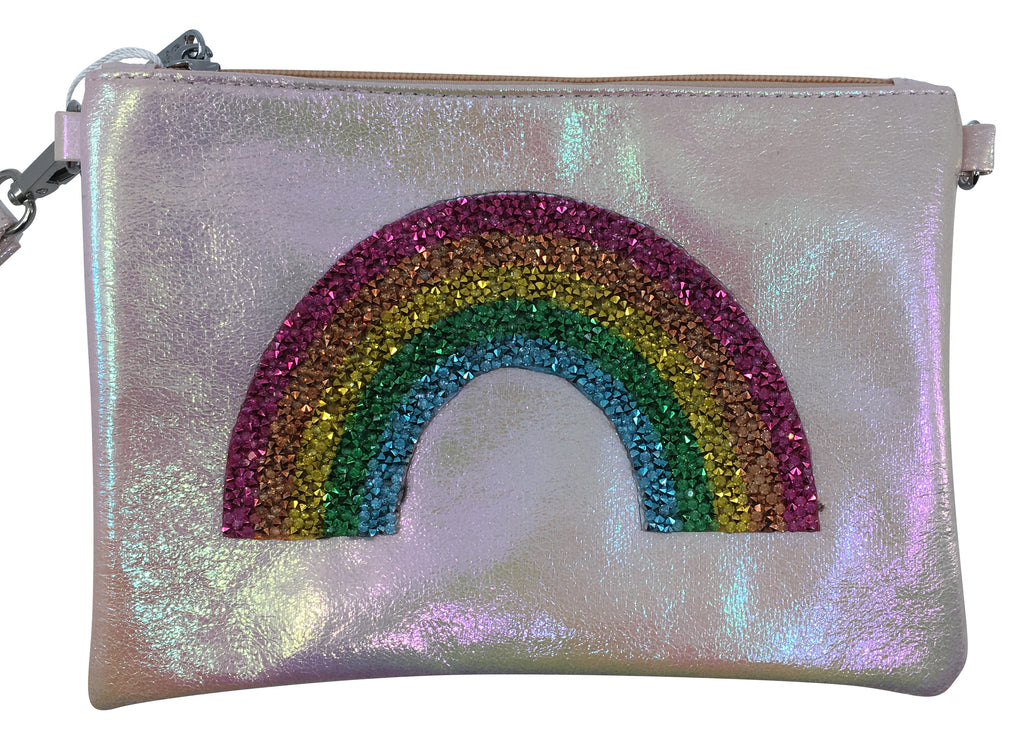 Bari Lynn Girl's Pink Rainbow Wristlet Clutch and Chain Handbag