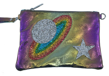 Bari Lynn Girl's Galaxy Iridescent Purple Wristlet Clutch and Chain Handbag