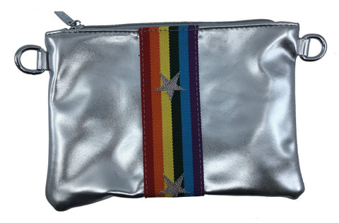 Bari Lynn Girl's Silver Rainbow Star with Matching Rainbow Strap Handbag