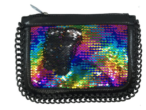 Bari Lynn Girl's Reversible Sequin Black Chain Handbag