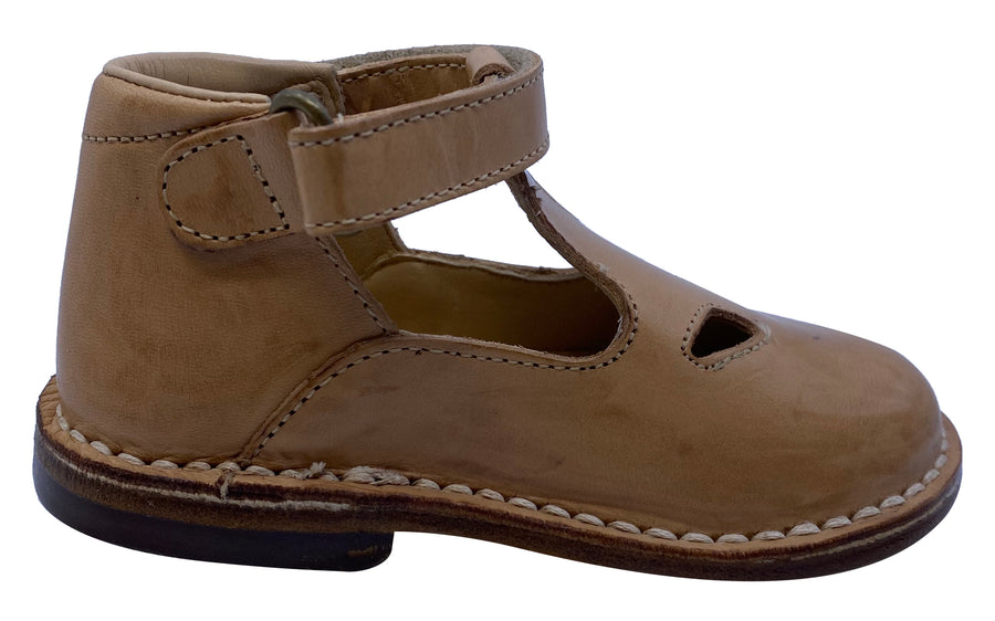 Eureka Girl's Handcrafted Due Occhi Leather T-Strap Shoes, Box Naturale