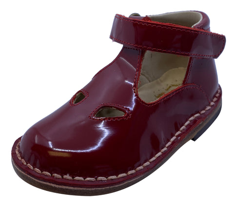 Eureka Girl's Handcrafted Due Occhi Leather T-Strap Shoes, Deep Red Patent