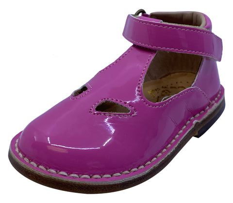 Eureka Girl's Handcrafted Due Occhi Leather T-Strap Shoes, Fuchsia Patent