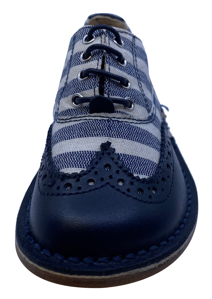Eureka Boy's Stripe Textile and Navy Handcrafted Leather Oxford