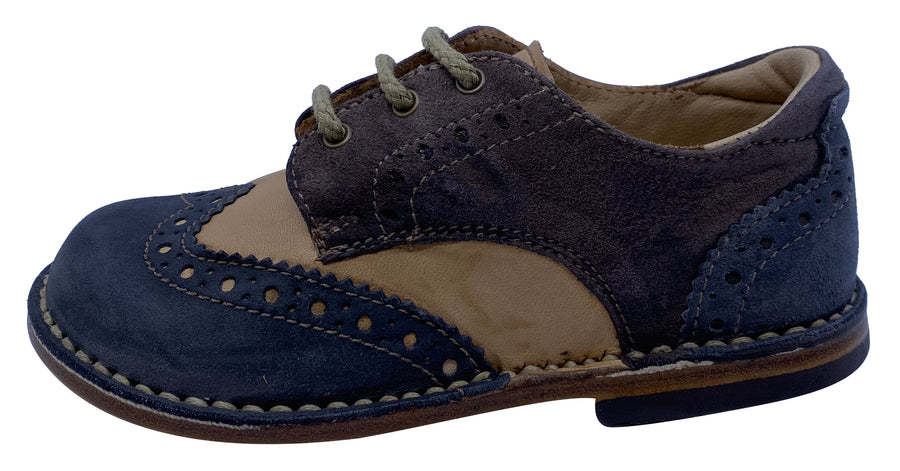 Eureka Boy's Stripe Tri-Color Handcrafted Leather Oxford