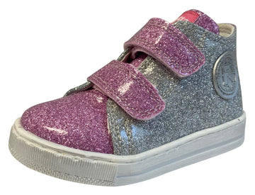 Naturino Falcotto Girl's Michael Glossy Fashion Sneakers, Rosa/Argento/Verdina
