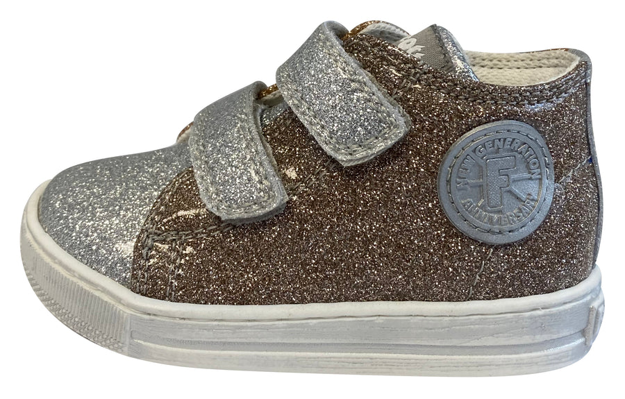 Naturino Falcotto Girl's Michael Glossy Fashion Sneakers, Argento/Platino/Cipria