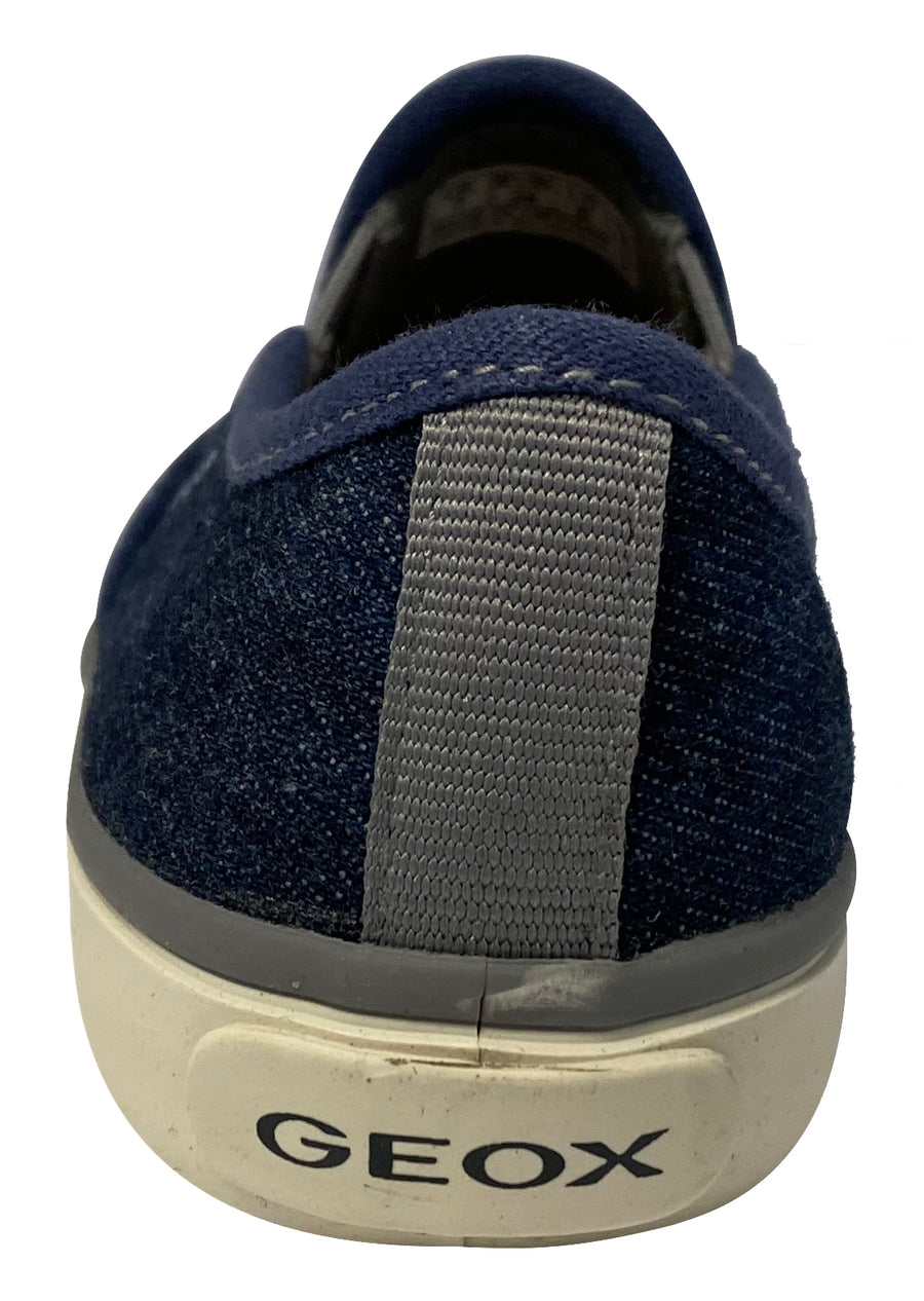 Geox Boy's and Girl's Kilwi Denim Canvas Slip-On Sneaker