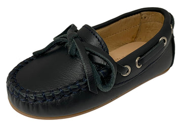 Oca-Loca Boy's Bow Tie Moccasin Loafer, Navy Blue Leather