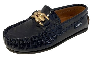 Atlanta Mocassin Boy's & Girl's Ornament Moccasin, Navy Blue