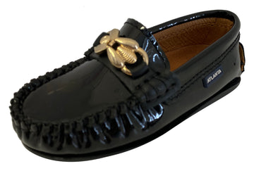 Atlanta Mocassin Boy's & Girl's Ornament Moccasin, Black Patent