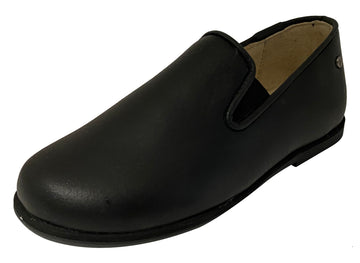 Manuela de Juan Boy's & Girl's Smoking Loafer, Black