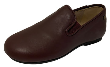 Manuela de Juan Boy's & Girl's Smoking Loafer, Burgundy