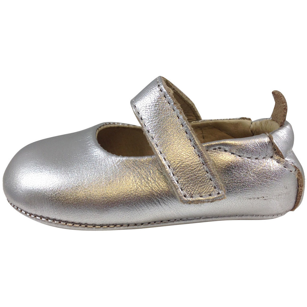 Old Soles Girl's 022 Silver Leather Gabrielle Mary Jane - Just Shoes for Kids  - 2