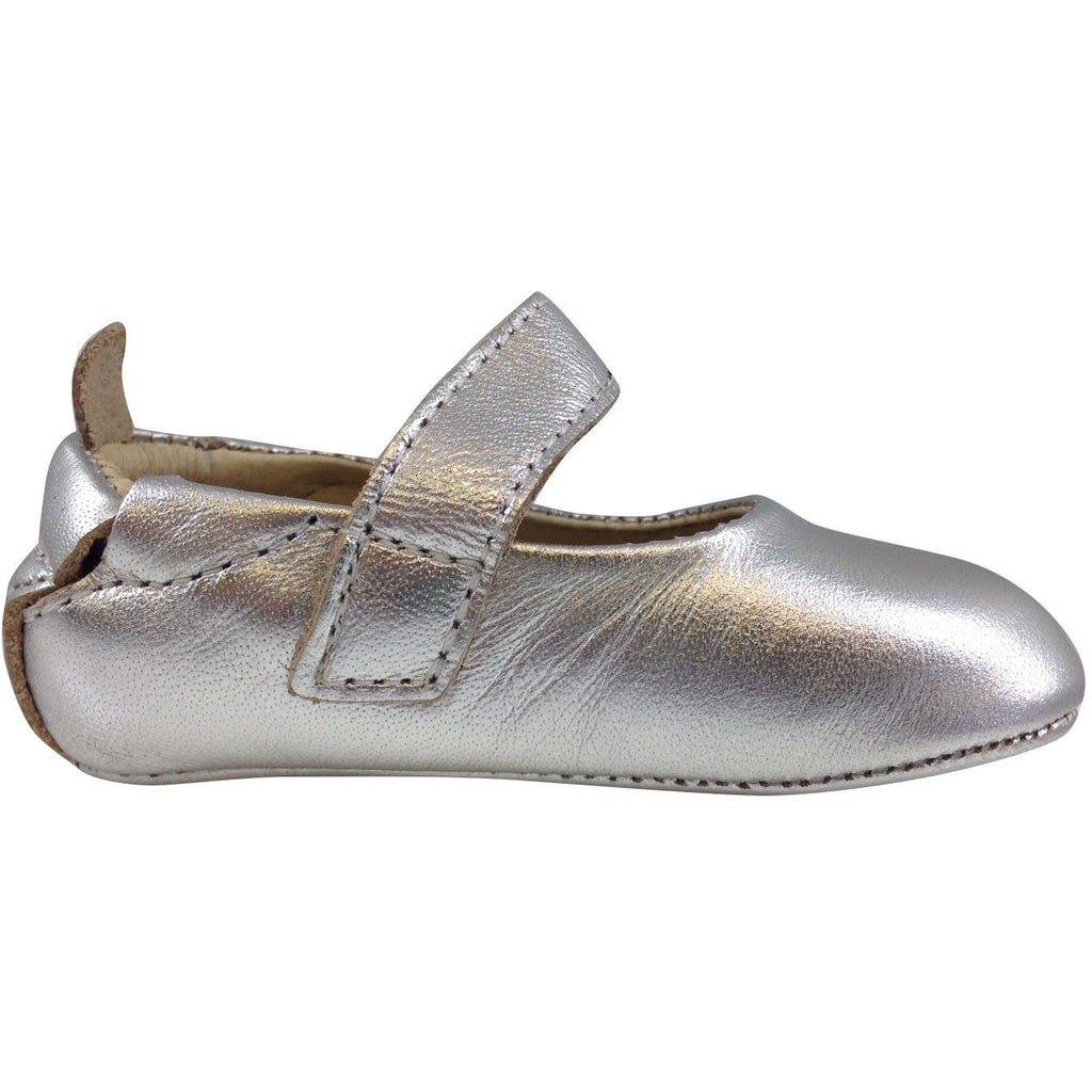 Old Soles Girl's 022 Silver Leather Gabrielle Mary Jane - Just Shoes for Kids  - 4
