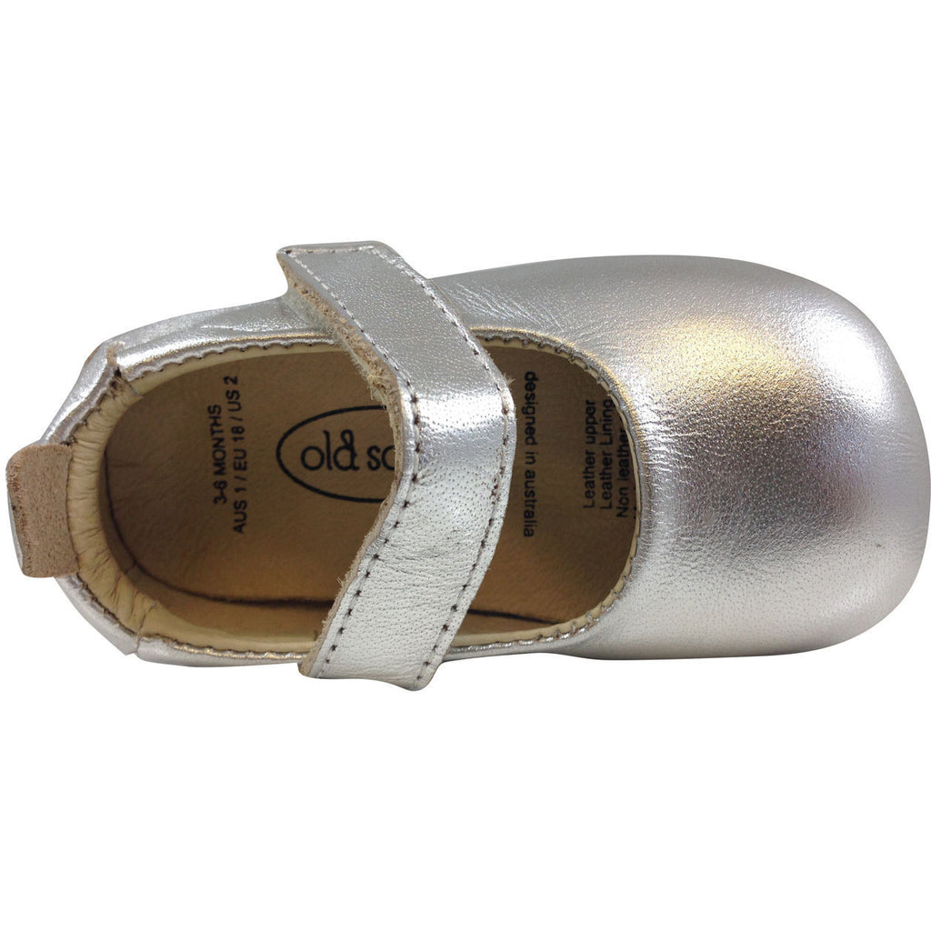 Old Soles Girl's 022 Silver Leather Gabrielle Mary Jane - Just Shoes for Kids  - 5