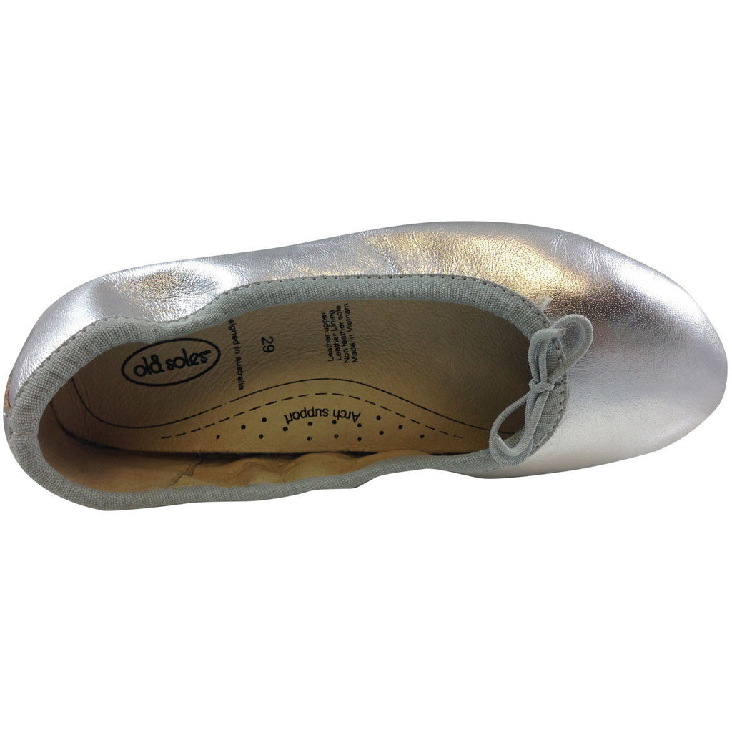 Old Soles Girl's Silver Cruise Ballet Flat - Just Shoes for Kids  - 6