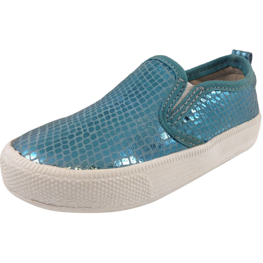 Old Soles Girl's 1011 Blue Snake Leather Hoff Sneaker - Just Shoes for Kids  - 1