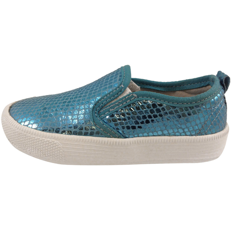 Old Soles Girl's 1011 Blue Snake Leather Hoff Sneaker - Just Shoes for Kids  - 2
