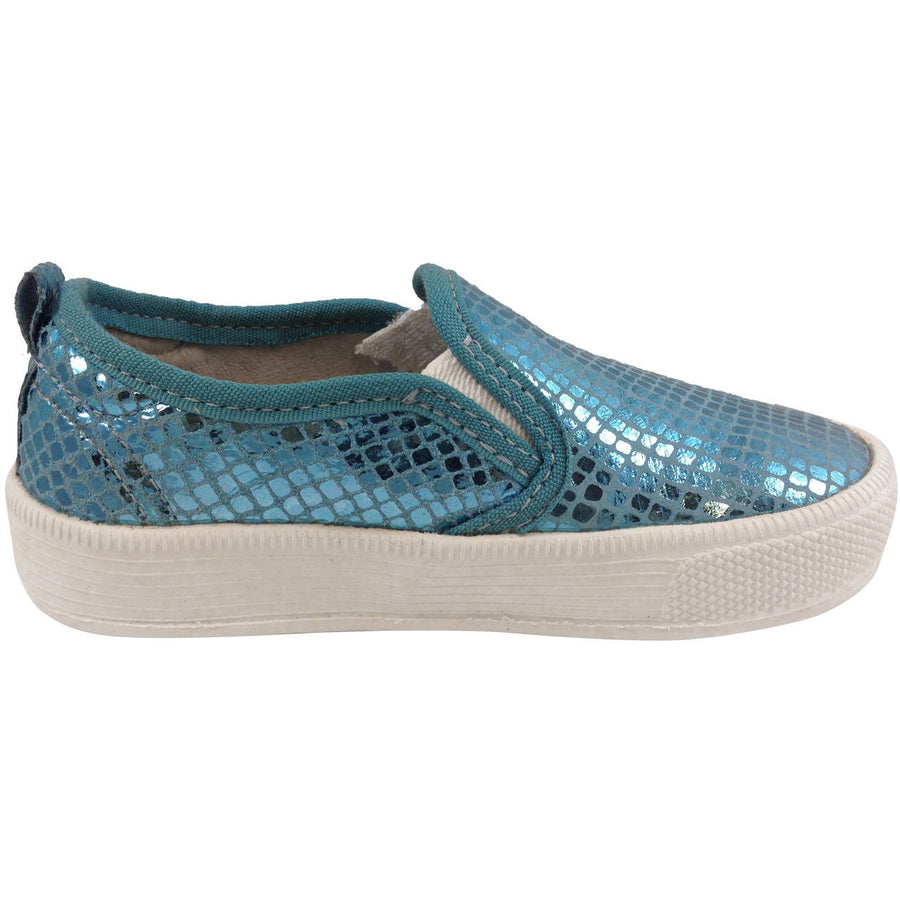 Old Soles Girl's 1011 Blue Snake Leather Hoff Sneaker - Just Shoes for Kids  - 4