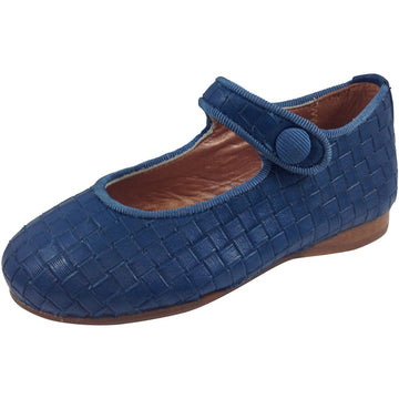 Papanatas by Eli Girl's Blue Cloe Mary Jane Flats - Just Shoes for Kids  - 1