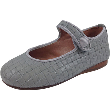 Papanatas by Eli Girl's Light Grey Cloe Mary Jane Flats - Just Shoes for Kids  - 1