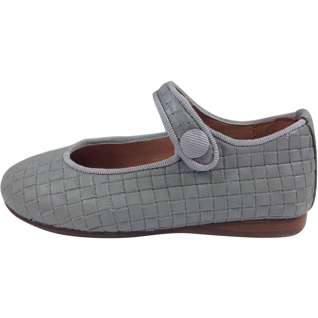 Papanatas by Eli Girl's Light Grey Cloe Mary Jane Flats - Just Shoes for Kids  - 2