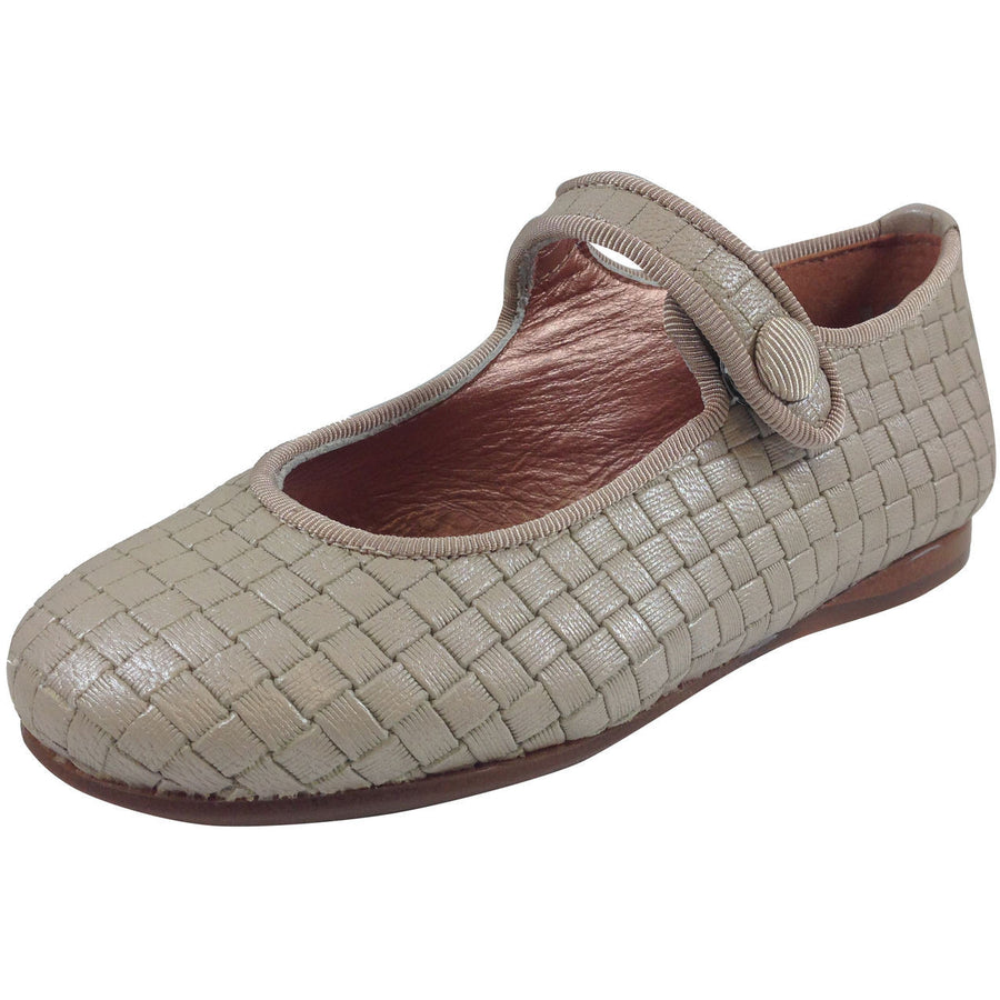 Papanatas by Eli Girl's Beige Cloe Mary Jane Flats - Just Shoes for Kids  - 1