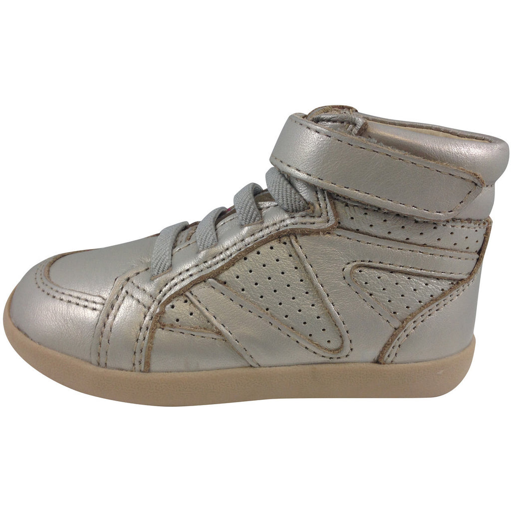 Old Soles Girl's Chalk Foil Leather Cheer Leader Hightops - Just Shoes for Kids  - 2