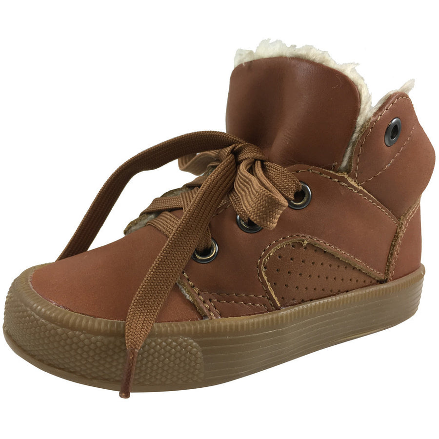 Old Soles Boy's & Girl's Toasty Plush Lining Tan Lace Up Sneaker - Just Shoes for Kids  - 1
