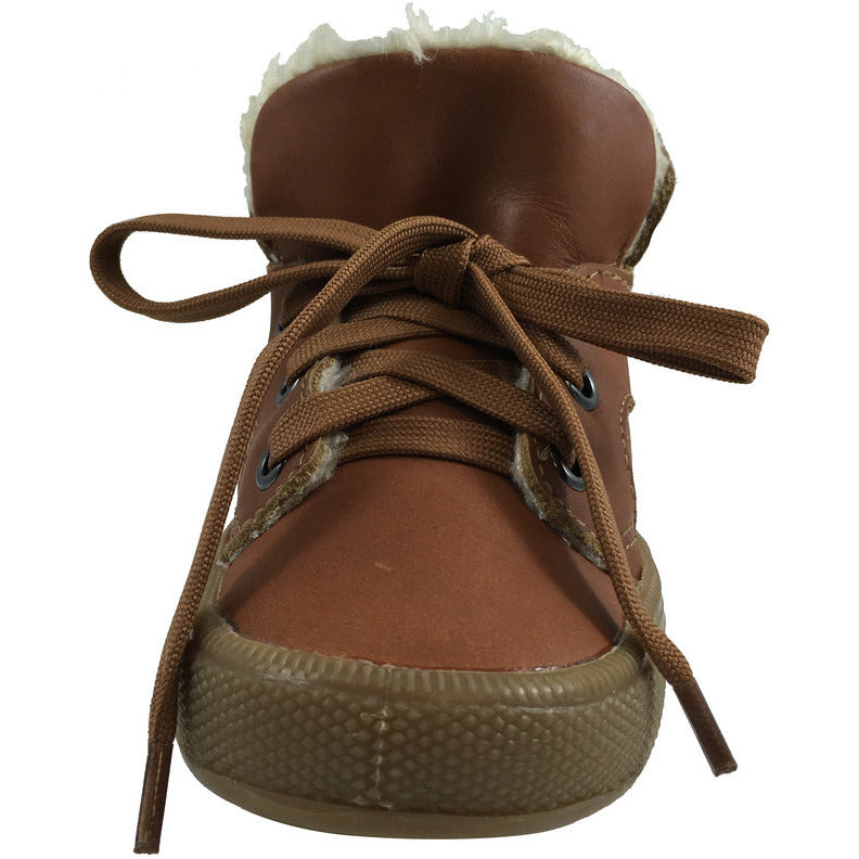 Old Soles Boy's & Girl's Toasty Plush Lining Tan Lace Up Sneaker - Just Shoes for Kids  - 4