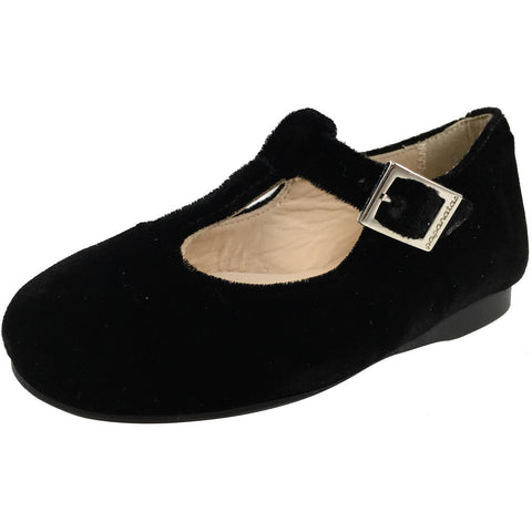 Papanatas by Eli Girl's 6427 Velvet Black T-Strap Buckle Mary Jane Flats