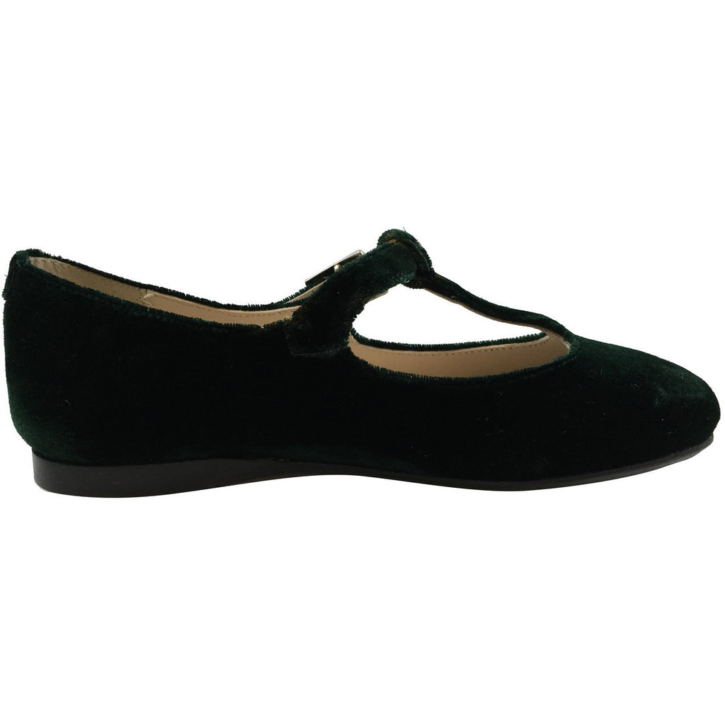 Papanatas by Eli Girl's 6427 Velvet Hunter Green T-Strap Buckle Mary Jane Flats - Just Shoes for Kids  - 3