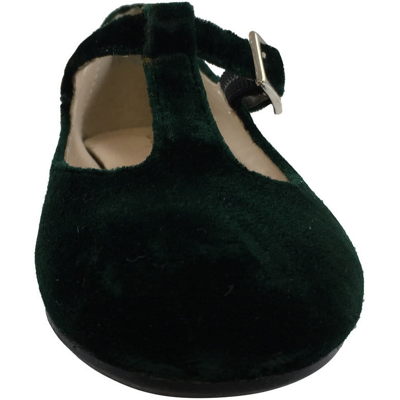 Papanatas by Eli Girl's 6427 Velvet Hunter Green T-Strap Buckle Mary Jane Flats - Just Shoes for Kids  - 4