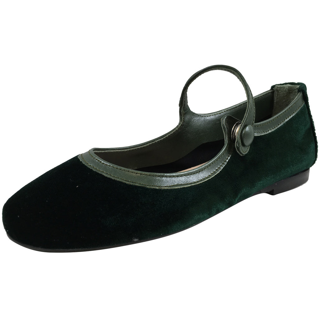 Papanatas by Eli Girl's 6534 Velvet Green Mary Janes Button Flats - Just Shoes for Kids  - 1
