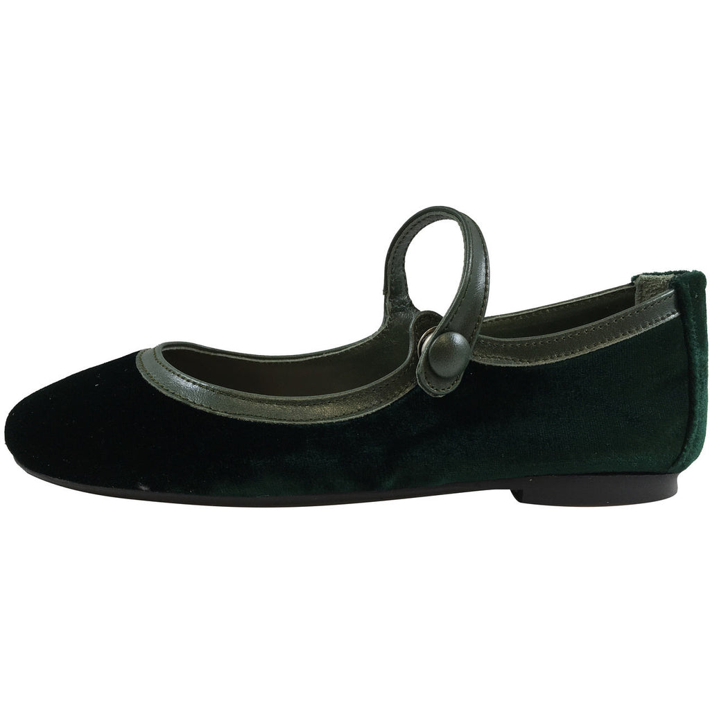 Papanatas by Eli Girl's 6534 Velvet Green Mary Janes Button Flats - Just Shoes for Kids  - 2