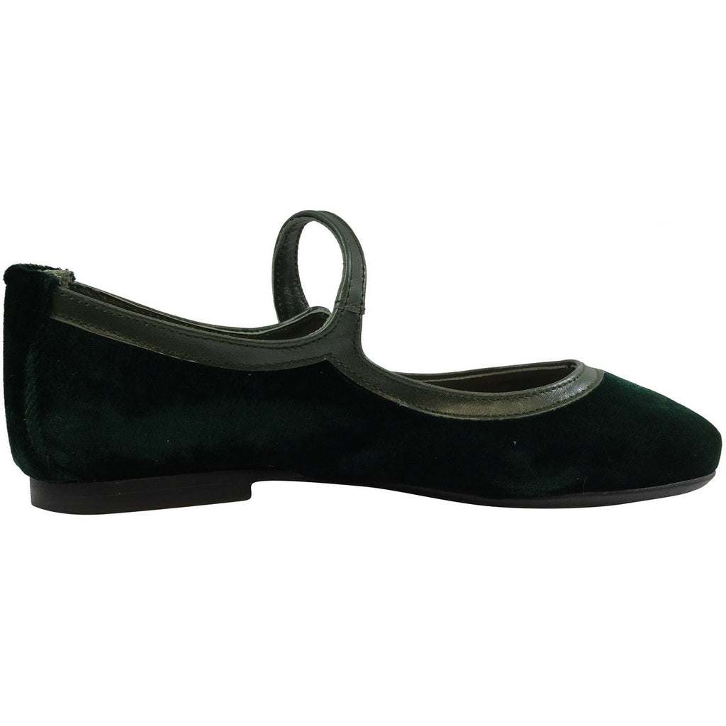 Papanatas by Eli Girl's 6534 Velvet Green Mary Janes Button Flats - Just Shoes for Kids  - 3