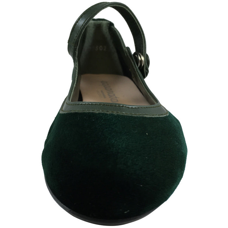 Papanatas by Eli Girl's 6534 Velvet Green Mary Janes Button Flats - Just Shoes for Kids  - 4