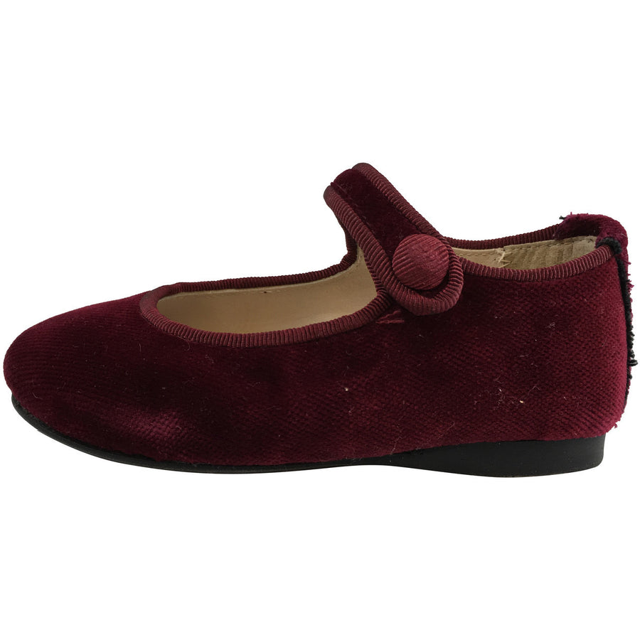 Papanatas by Eli Girl's Velvet Burgundy Classic Snap Buckle Mary Janes Flats