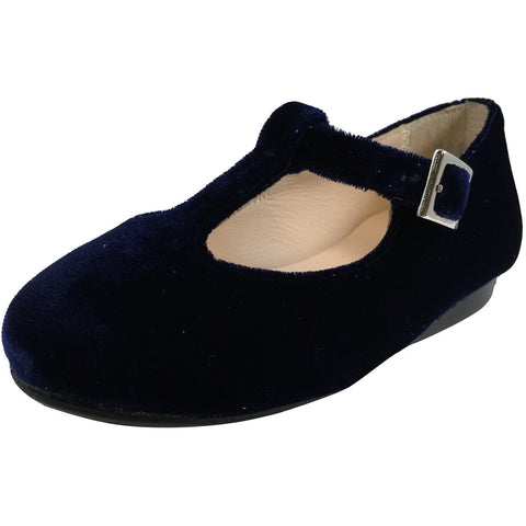 Papanatas by Eli Girl's 6427 Velvet Navy T-Strap Buckle Mary Jane Flats - Just Shoes for Kids  - 1