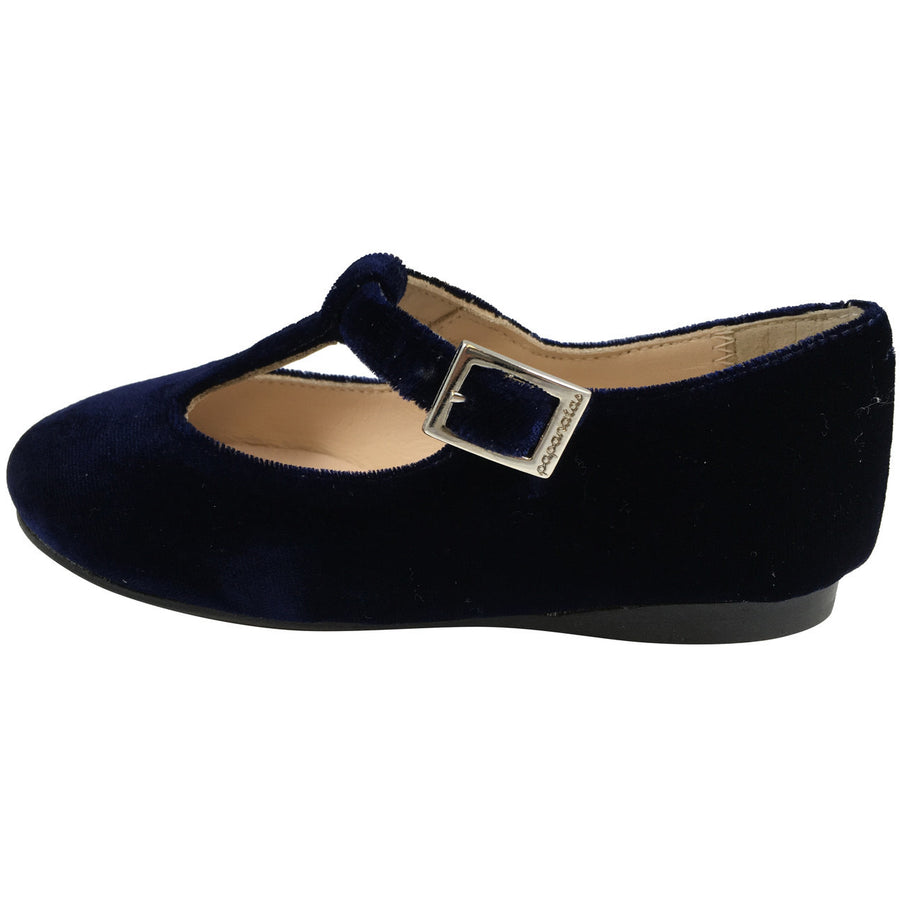 Papanatas by Eli Girl's 6427 Velvet Navy T-Strap Buckle Mary Jane Flats - Just Shoes for Kids  - 2