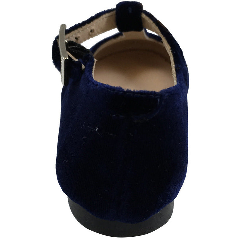Papanatas by Eli Girl's 6427 Velvet Navy T-Strap Buckle Mary Jane Flats - Just Shoes for Kids  - 5