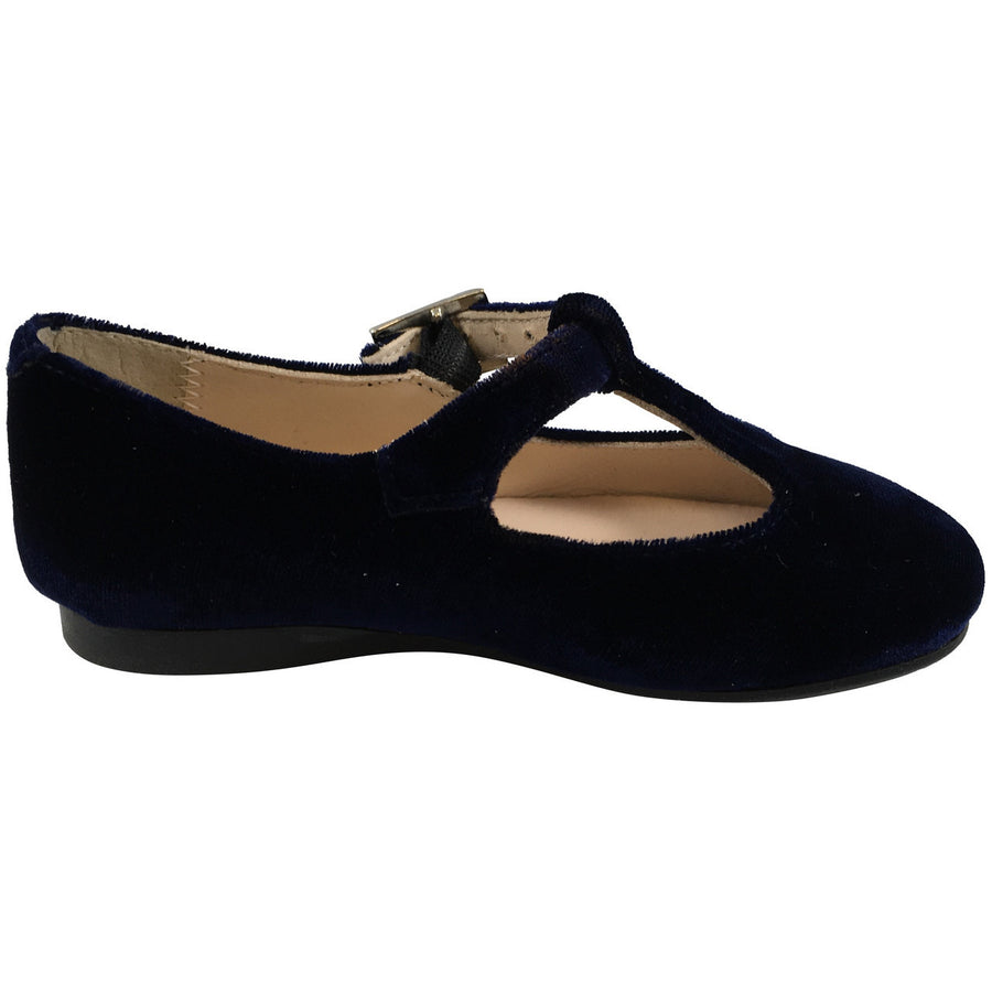 Papanatas by Eli Girl's 6427 Velvet Navy T-Strap Buckle Mary Jane Flats - Just Shoes for Kids  - 3