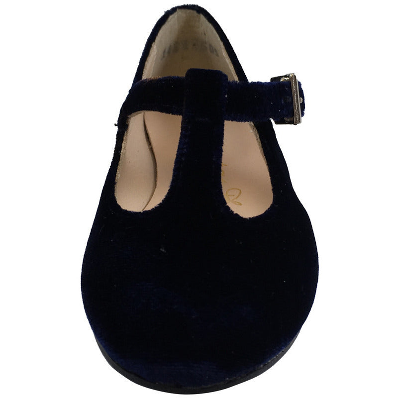 Papanatas by Eli Girl's 6427 Velvet Navy T-Strap Buckle Mary Jane Flats - Just Shoes for Kids  - 4