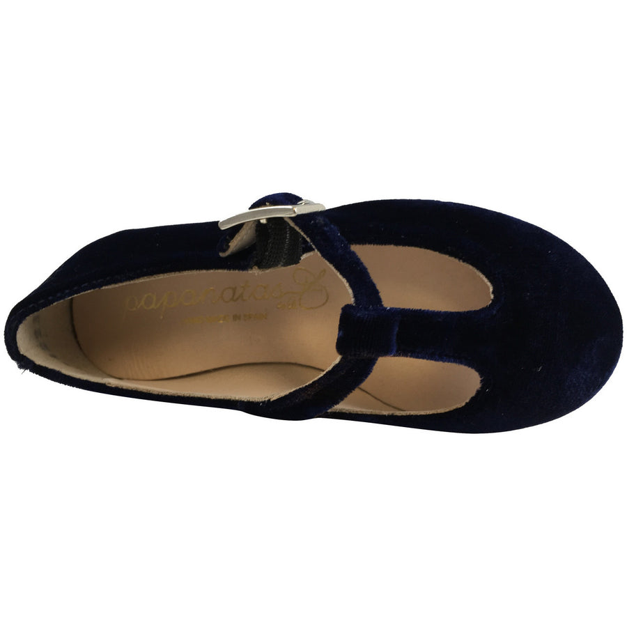 Papanatas by Eli Girl's 6427 Velvet Navy T-Strap Buckle Mary Jane Flats - Just Shoes for Kids  - 6