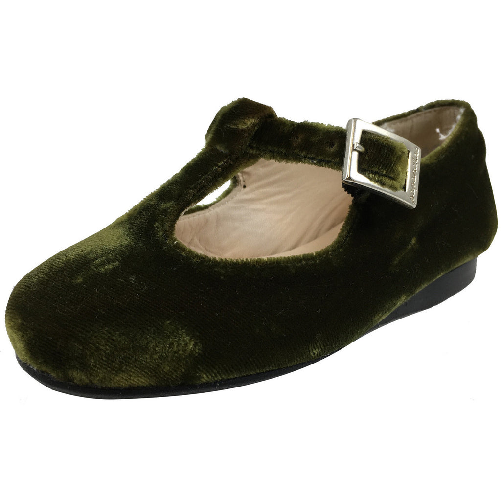 Papanatas by Eli Girl's 6427 Velvet Green T-Strap Buckle Mary Jane Flats - Just Shoes for Kids  - 1