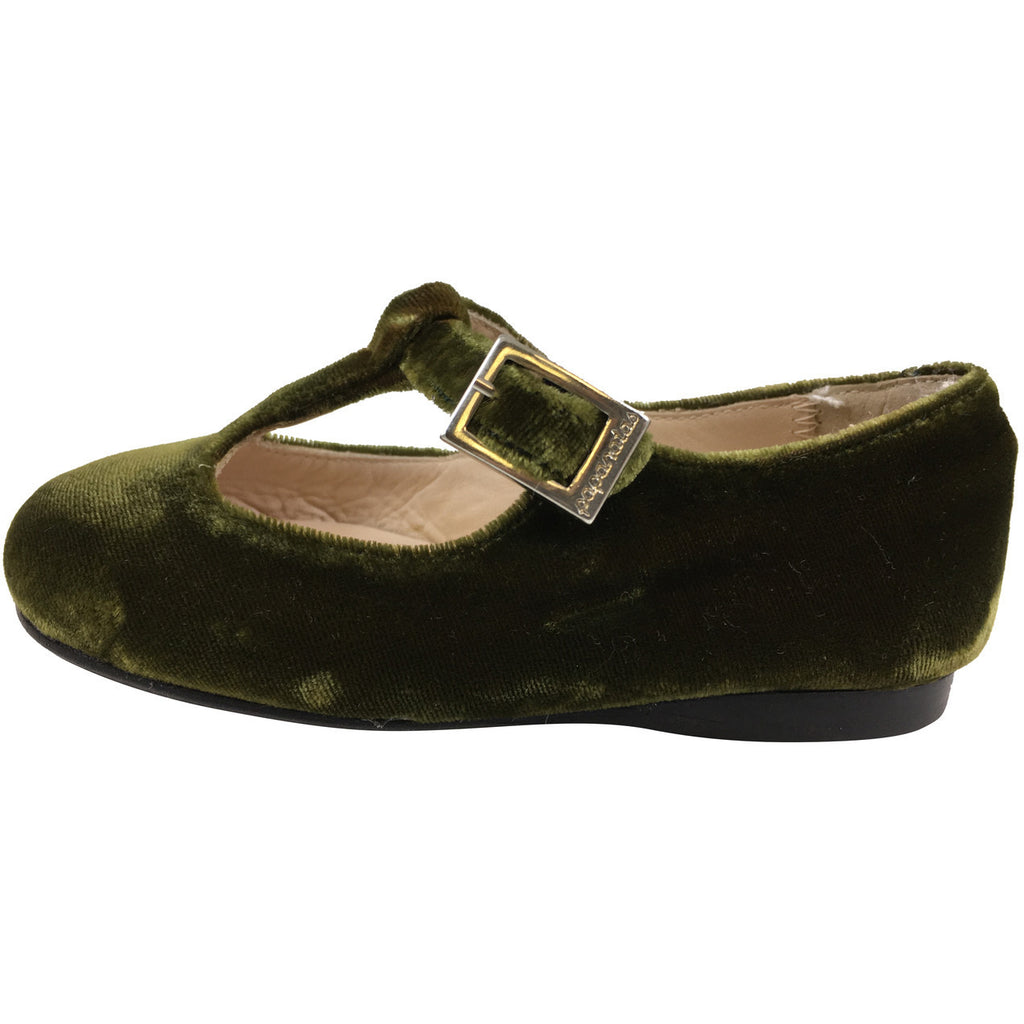 Papanatas by Eli Girl's 6427 Velvet Green T-Strap Buckle Mary Jane Flats - Just Shoes for Kids  - 2